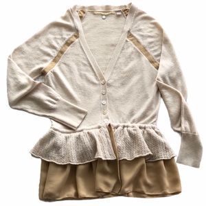 ANTHROPOLOGIE| duo tone ruffled hem cardigan